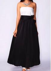 Black Pocket Design Belt Design Maxi Skirt