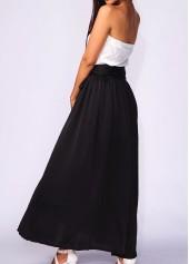 wholesale Belted Black High Waist Pocket Maxi Skirt
