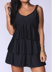 Solid Black V Neck Layered Swimdress