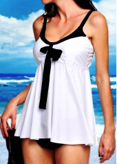 White Open Back Top and Black Panty Swimwear