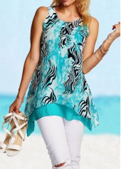Asymmetric Hem Printed Blue Tank Top