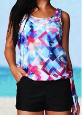 Printed Round Neck Open Back Tankini Set