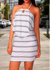 Halter Neck Open Back Stripe Print Dress