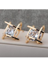 Square Gold Metal White Rhinestone Ear Stud