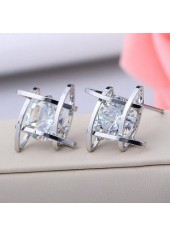 Square Shape Design Sliver Metal Rhinestone Decorated Earrings