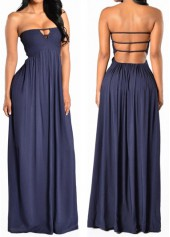 Strapless Solid Navy Blue Tube Dress