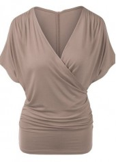 Khaki V Neck Batwing Sleeve T Shirt