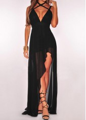 V Neck High Waist Black Dress