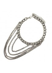 wholesale Layered Silver Metal Chain Anklet for Woman