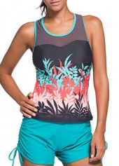 Racer Back Round Neck Printed Tankini Top