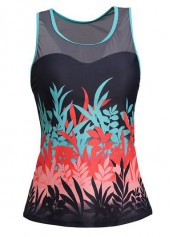 wholesale Racer Back Round Neck Printed Tankini Top