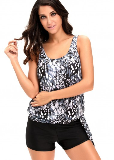 Open Back Printed Top and Black Shorts