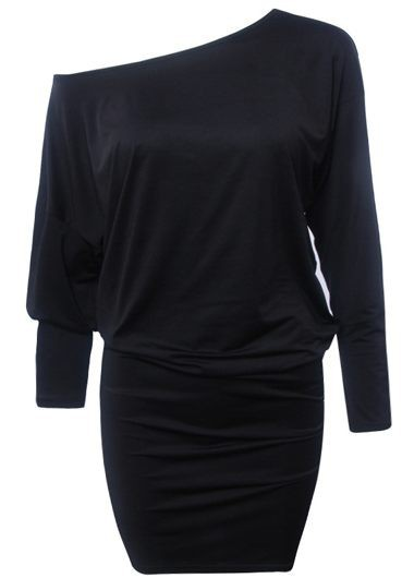 Black Three Quarter Sleeve Mini Dress