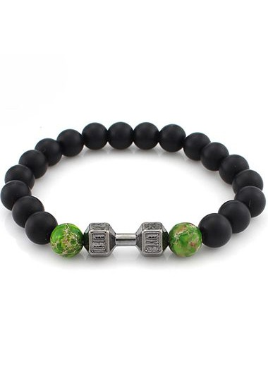 Daily Causal Bead Decorated Black Bracelet