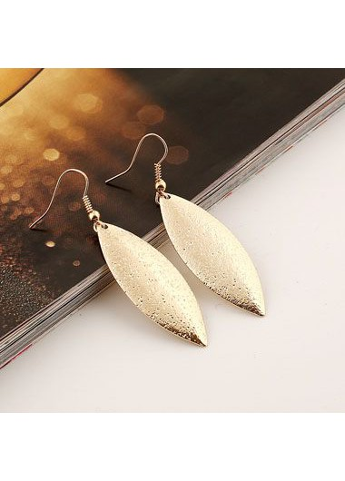 Leaf Shape Decorated Gold Metal Earrings