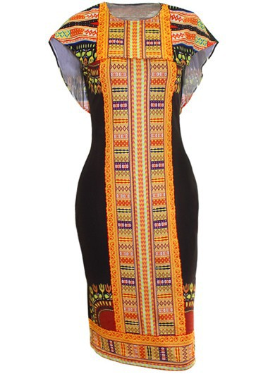 Round Neck Cloak Design Printed Sheath Dress