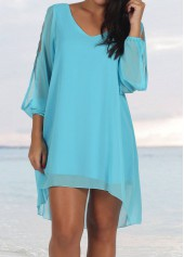 V Neck Slit Sleeve Blue Chiffon Dress