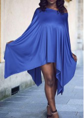 Royal Blue Round Neck Asymmetric T Shirt Dress