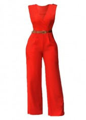 V Neck High Waist Solid Orange Jumpsuits