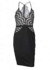 Black Deep V Neck Lace Splicing Strappy Dress