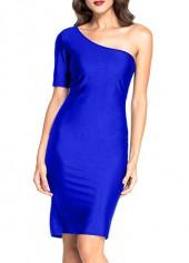 Royal Blue One Shoulder Short Sleeve Dress