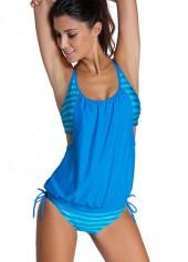 wholesale Spaghetti Strap Stripe Print Blue Tankini Swimwear
