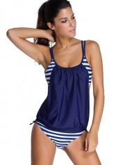 wholesale Stripe Print Navy Blue Top and Panty Swimwear