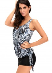 wholesale Open Back Printed Top and Black Shorts