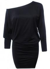 wholesale Black Three Quarter Sleeve Mini Dress