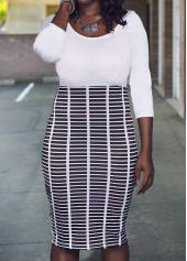 Round Neck Three Quarter Sleeve Printed Dress