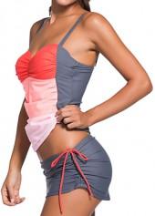 wholesale Spaghetti Strap Color Block Swimwear Set