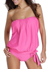 Strapless Solid Pink Top and Panty Swimwear