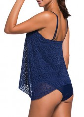 wholesale Navy Blue Lace Panel Tankini Set