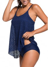 wholesale Navy Blue Lace Panel Tankini Set
