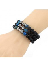 Black Bead Decorated Bracelet for Woman
