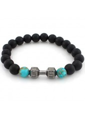 Dumbbell and Cyan Bead Decorated Black Bracelet
