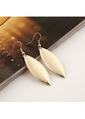 wholesale Leaf Shape Decorated Gold Metal Earrings