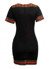 wholesale Dashiki Print Pocket Design Black Dress
