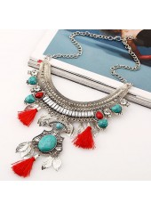 Leaf Shape and Tassel Decorated Metal Necklace