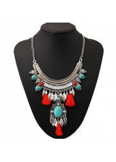 wholesale Leaf Shape and Tassel Decorated Metal Necklace