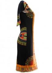 wholesale Round Neck Cloak Design Printed Sheath Dress