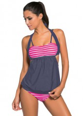Open Back Top and Stripe Print Panty