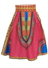 High Waist Dashiki Print Rose Skirt