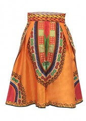 Empire Waist Zipper Closure Orange Skirt