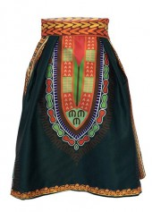 Dashiki Print High Waist Skater Skirt