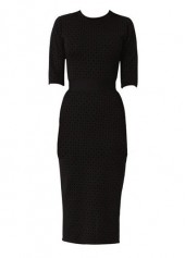Printed High Waist Black Sheath Dress