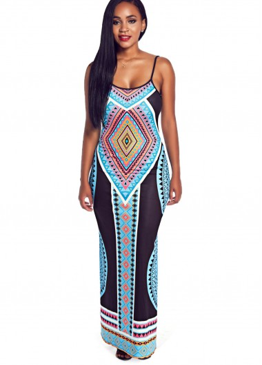 Side Slit Tribal Print Maxi Dress
