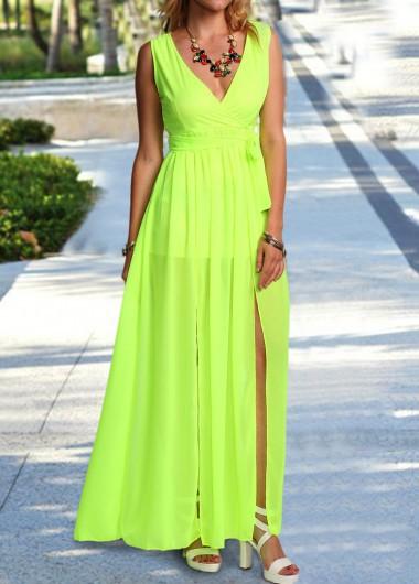 V Neck Sleeveless Light Green Maxi Dress