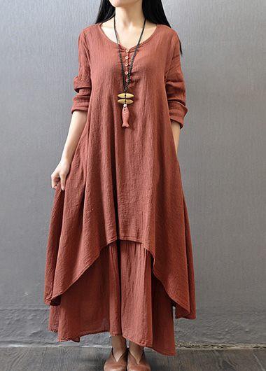 Button Design V Neck Layered Maxi Dress