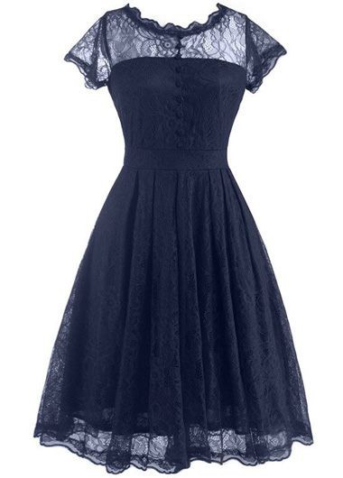 Cap Sleeve Navy Blue Lace A Line Dress